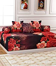 KIHOME 6 Pieces Poly Cotton Diwan Set of Sheet, 2 Bolster Covers and 3 Cushion Covers (Red Rose)