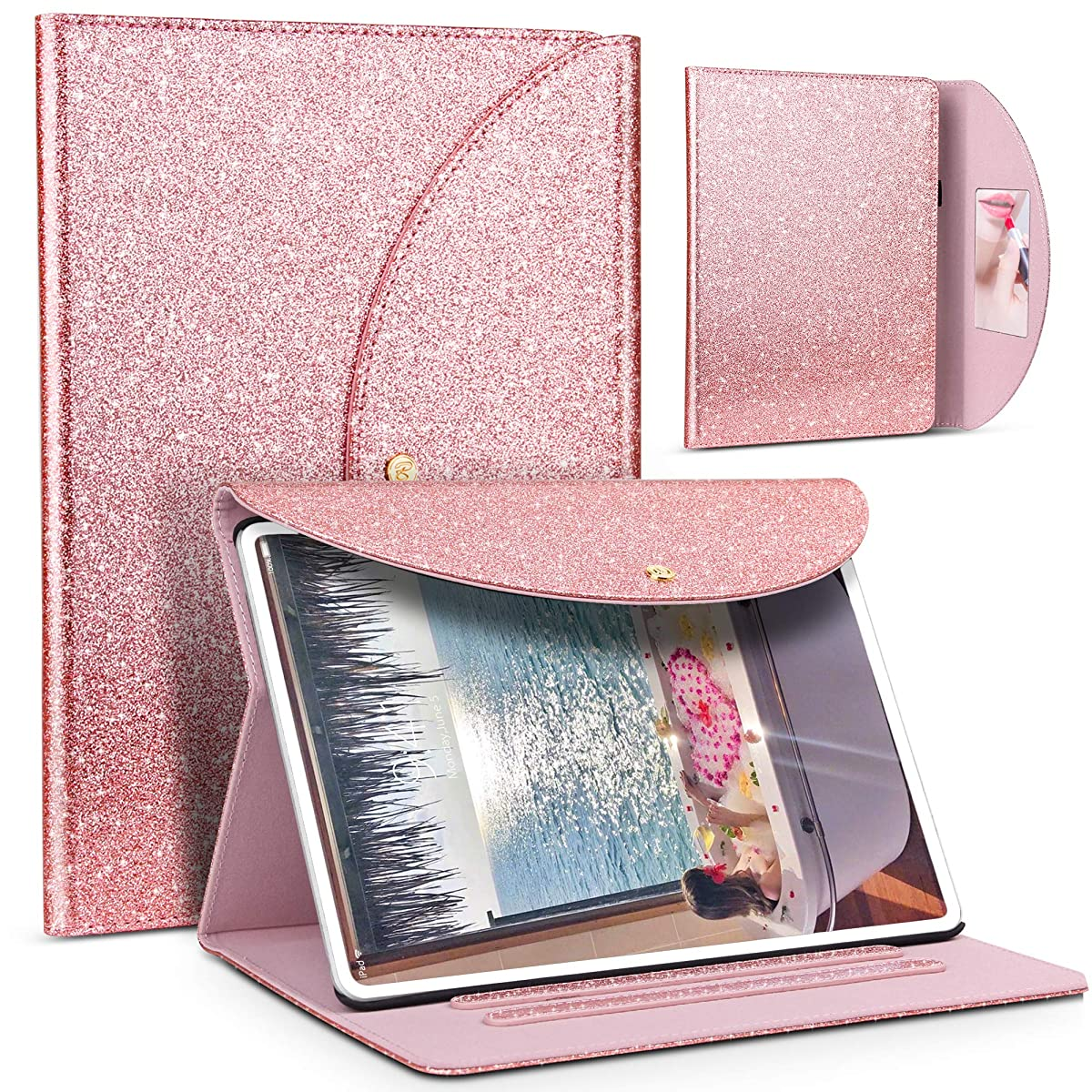 iPad Pro 11 inch 2018 Case, Anban Glitter Sparkle Bling Folio Stand Case Smart Protective Cover with Auto Sleep/Wake, Mirror, Hand Strap, Pen Holder Compatible for Apple iPad Pro 11