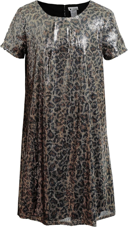 Emily West Girls' Glitter Textured Knit Metallic Leopard Print Dress, Brown, 16