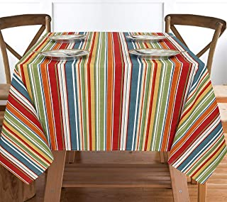 """Ruvanti Table Cloth (60X104"""") 8-10 Seats .Wrinkle Free 100% Cotton Rectangle Tablecloth. Washable/Reusable. Salsa Red Stripe Table Cloths Table Cover for Christmas/Thanks Giving Dinners."""