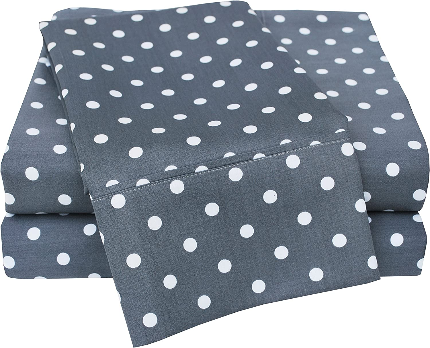 Superior Polka Dot Sheet Set, 600 Thread Count Cotton Blend Bedding Sets, Soft and Wrinkle Resistant Sheets with Deep Fitting Pockets - Full, Grey