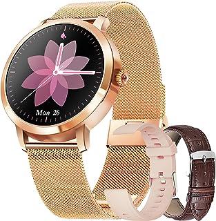 Smartwatch voor vrouwen met feeënfunctie, sporthorloge, waterdicht, zuurstofmonitor en hartslag (goud)