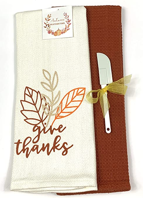 Fall Harvest Kitchen Dish Towels Set One Herringbone Ivory Towel With Leaf Print And One Rust Red Waffle Towel Give Thanks Home Kitchen