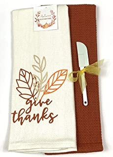 Fall Harvest Kitchen Dish Towels Set: One Herringbone Ivory Towel with Leaf Print and One Rust Red Waffle Towel (Give Thanks)