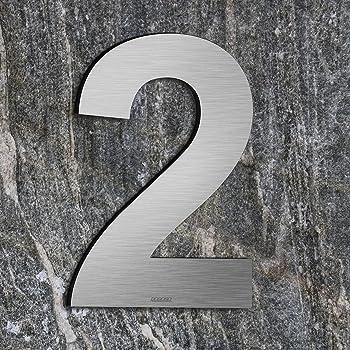 Cepillado número de casa 3 Three -20.5 cm 8.1 in-made de sólido Acero inoxidable 304 flotante apariencia, fácil de instalar: Amazon.es: Bricolaje y herramientas