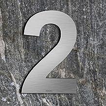 Qoboob® roestvrijstalen huisnummers 2 Twee straatnummers fijn geborsteld zilver 200mm (1 stuks)