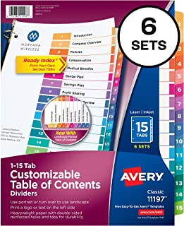 Avery Ready Index 15-Tab Binder Dividers, Customizable Table of Contents, Multicolor Tabs, 6 Sets (11197)