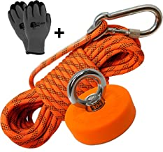 Super Strong Deluxe Magnet Fishing Kit 330 LB & Rope | Rope Over 2000 LB | Magnet 330lbs Pull Force(150KG) | Durable Orange Rubber | Neodymium Rare Earth Magnet | 2.36 inch(60 mm) for Magnet Fishing