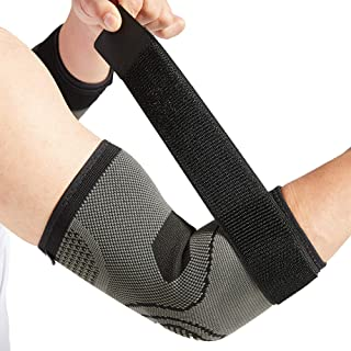 Elbow Brace with Strap for Tendonitis 2 Pack, Tennis Elbow Compression Sleeves, Golf Elbow Treatment (Medium)