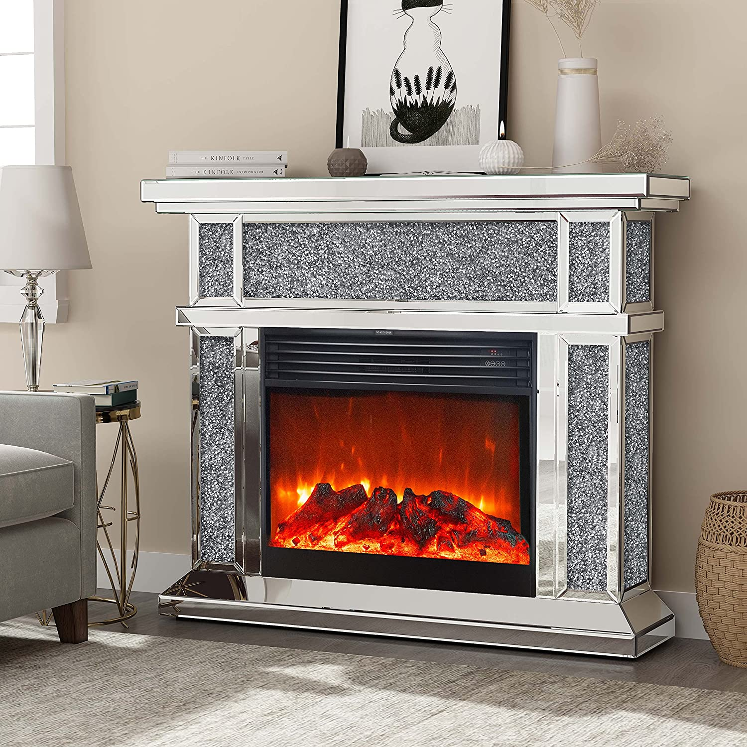 Mirrored Electric Popular brand in Max 83% OFF the world Fireplace Mantel Freestanding Heate