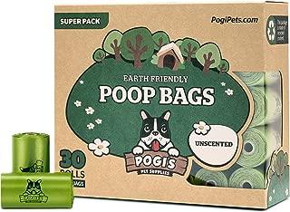 Pogi's Poop Bags - 30 Unscented Rolls (450 Bags) - Biodegradable, Leak-Proof Pet Waste Bags