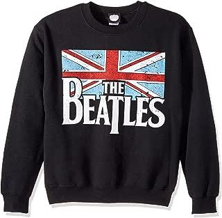 Mens The Beatles Distressed British Flag Crew Sweatshirt, Black