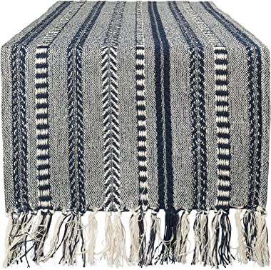 """DII Braided Cotton Table Runner Perfect for Summer, Holiday Parties and Everyday Use, 15x72"""", Navy Blue"""