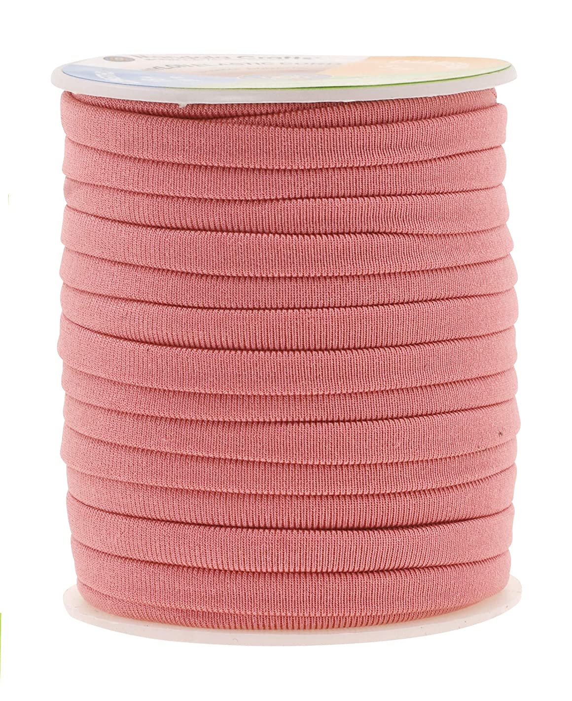 Mandala Crafts Soft Elastic Cord from Spandex Nylon Fabric for Jewelry Making, Sewing, and Crafting (Blush)