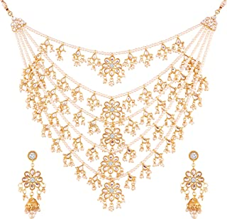 Exklusive Choker Style Pearl Gold Plated Multi Strand Rani Haar for Women (M4080W)