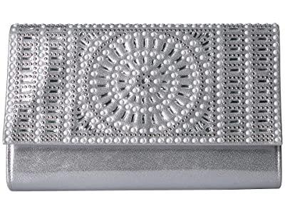 Jessica McClintock Nora Sparkle Shine Clutch (Silver) Handbags