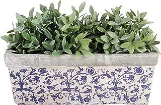 Esschert Design USA Ceramic Balcony Planter-Blue/White