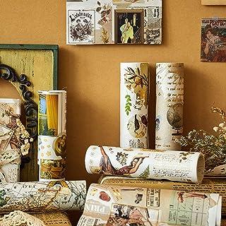 Papier D'Emballage Cadeau, Lychii 6 Rolls Hot Stamping Papier D'Emballage, Vintage Wrapping Papers Pour Anniversaire, Vaca...