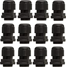 YXQ PG13.5 Waterproof Cable Gland Joints for 6-12mm Wire Adjustable Lock Nut Connector Black Plastic(12Pcs)