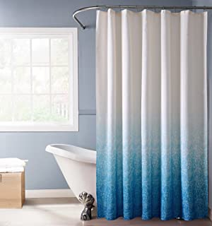 Dainty Home Lace Doily 3D Ombre Fabric Shower Curtain, 70 inch Wide x 72 inch Long, Ocean Blue/White