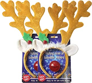 Reindeer Antlers Headband & Red Light-Up Flashing Nose (2 Pack) - Christmas Costume for Holiday Parties or Decoration - One Size Fits All