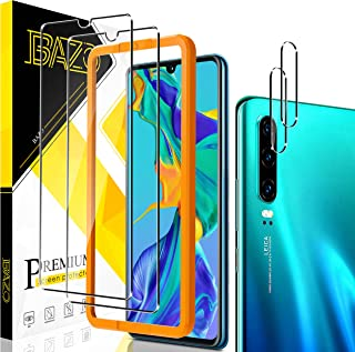 [2+2 Pack] BAZO Screen Protector Tempered Glass + Camera Lens Protector for Huawei P30 [Easy Installation Frame] [Bubble F...