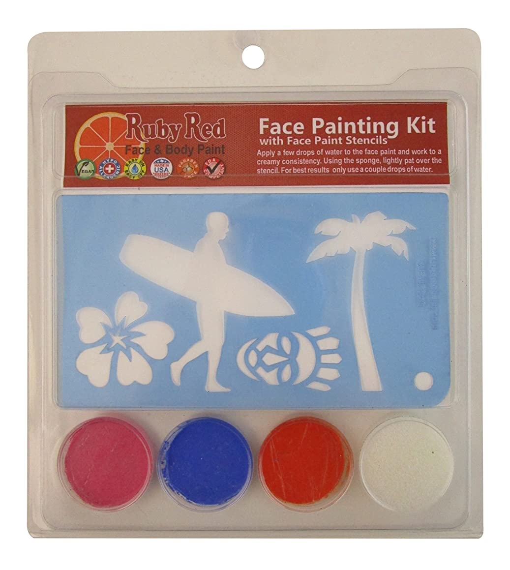Ruby Red Paint Face Paint, 2ML X 3 Colors - Luau Stencil Set