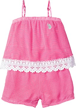 Neon & White Stripe Chiffon Romper (Big Kids)