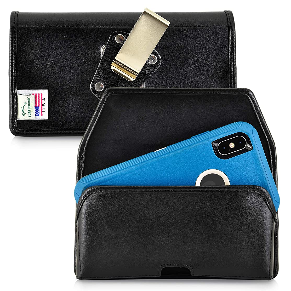 Turtleback Belt Case Designed for iPhone Xs MAX (2018) Fits with OTTERBOX Defender, Black Leather Holster Pouch with Heavy Duty Rotating Belt Clip, Horizontal Made in USA