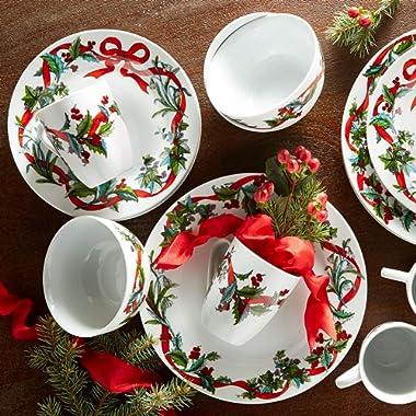 BrylaneHome 16-Pc. Christmas Dinnerware Set, White