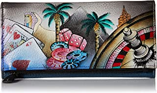 Women's Leather Hand Painted Three Fold Clutch Wallet