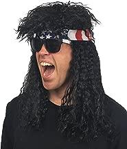 4 pc. Premium 80s Rocker Wig + Bandana + Sunglasses Mens Wig Costume (Multiple Colors)