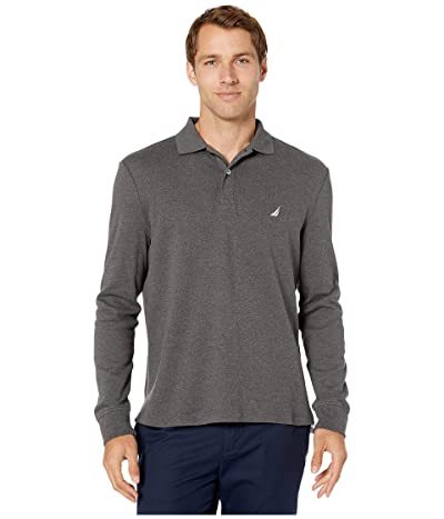 Nautica Long Sleeve Interlock Knit Polo (Charcoal Heather) Men