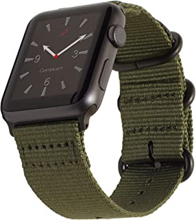 Carterjett Compatible with Apple Watch Band 42mm 44mm Nylon Olive iWatch Bands Replacement Strap Durable Dark Gray Adapters NATO Buckle for Series 5 Series 4 3 2 1 (42 44 S/M/L Army Green)