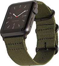 Carterjett Compatible with Apple Watch Nylon Band 40mm 38mm Sport Wrist Strap Army Green NATO Woven Canvas Gray Buckle Clasp Replacement iWatch Bands for Series 5 Series 4 3 2 1 (38 40 S/M/L Olive)