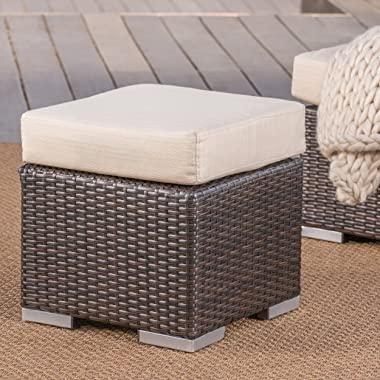 """Christopher Knight Home Santa Rosa Outdoor 16"""" Wicker Ottoman Seat with Water Resistant Cushion, Multibrown / Beige"""