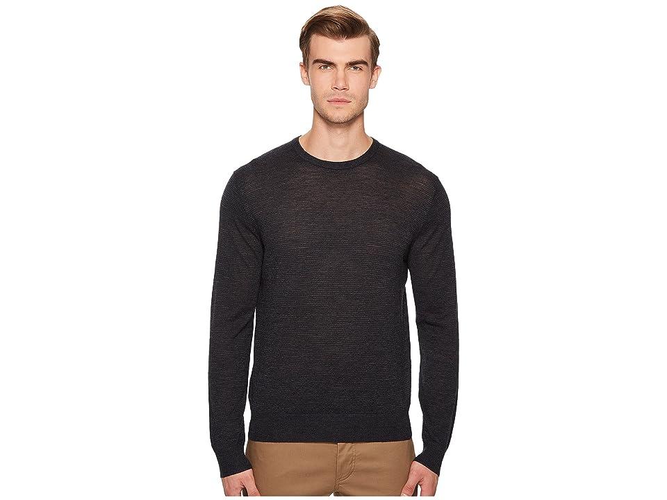 Vince Striped Crew Neck Sweater (New Coastal/Heather Charcoal) Men
