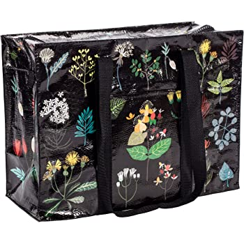 """Blue Q Shoulder Tote, Plant Study. This botanical beauty is a carry-everywhere bag that features a hefty zipper, exterior pocket, wrap-around straps, reinforced floor, 95% recycled material, 11""""h x 15""""w x 6.25""""d."""