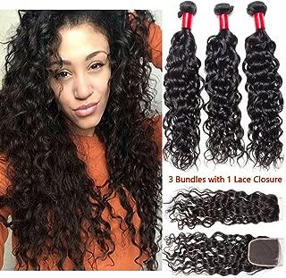 VIPbeauty Virgin Hair Bundle Deals with Closure Brazilian Water Wave 3 Bundles with Closure 100 Brazilian Human Hair Bundles (22 24 26 with 16)