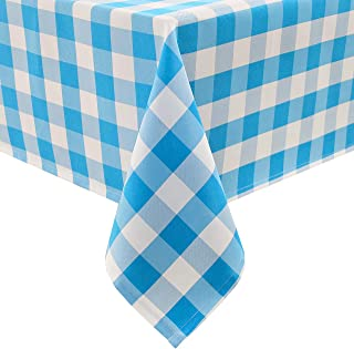 Homedocr White and Blue Checkered Tablecloth Square - Waterproof and Stain Resistant Gingham Table Cloth, Washable Polyester, 60 x 60 Inch
