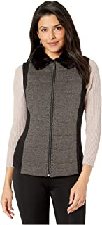Quilted Front Vest with Faux Fur Collar Camel Black LG (Women's 12-14)