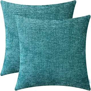 Pack of 2 CaliTime Cozy Throw Pillow Covers Cases for Couch Sofa Home Decoration Solid Dyed Soft Chenille 16 X 16 Inches Teal