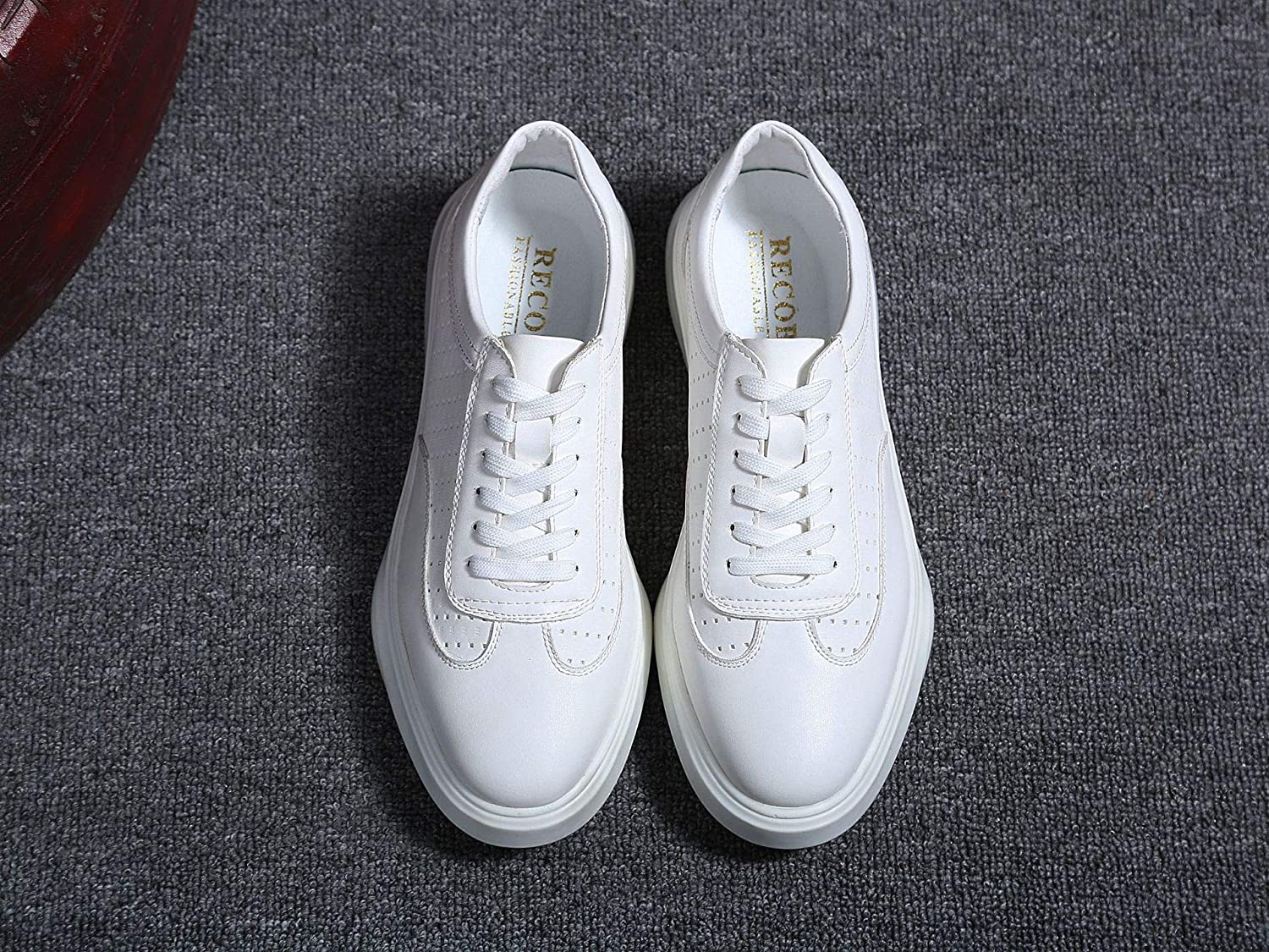 LOVDRAM Men's shoes New Thick-Soled White shoes Male Korean Fashion shoes Leather Sports Men'S shoes