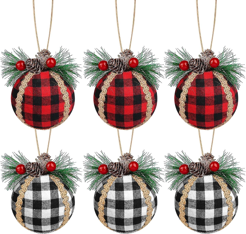 6 PCS Christmas Buffalo Plaid Ball Ornaments, 3.15 Inch Red & Black/Black & White Buffalo Plaid Xmas Balls Christmas Hanging Ornaments for Holiday Party Supplies Christmas Tree Decoration