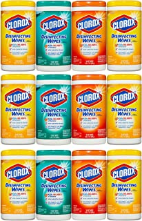 Clorox Disinfecting Cleaning Wipes Value Pack, Crisp Lemon Scent, Fresh Scent and Orange Fusion Scent, 75 Wipes each, 3-Pack (12ct)