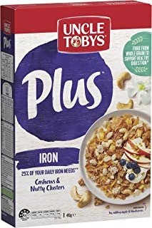 Uncle Tobys Plus Iron Breakfast Cereal, Cashews & Nutty Clusters, 410g