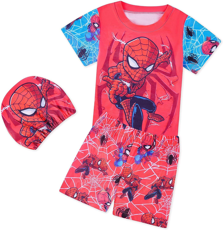 Toddler Boys Swim Set Short Sleeve Rash Guard Superhero Two Piece Swimsuit Swimwear with Cap UPF 50