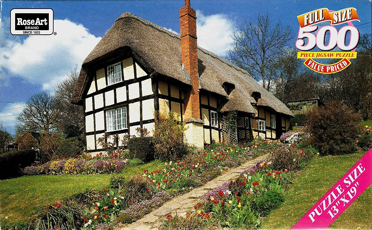 Cottage At Eastnor 500 Piece Jigsaw Puzzle by pink Art