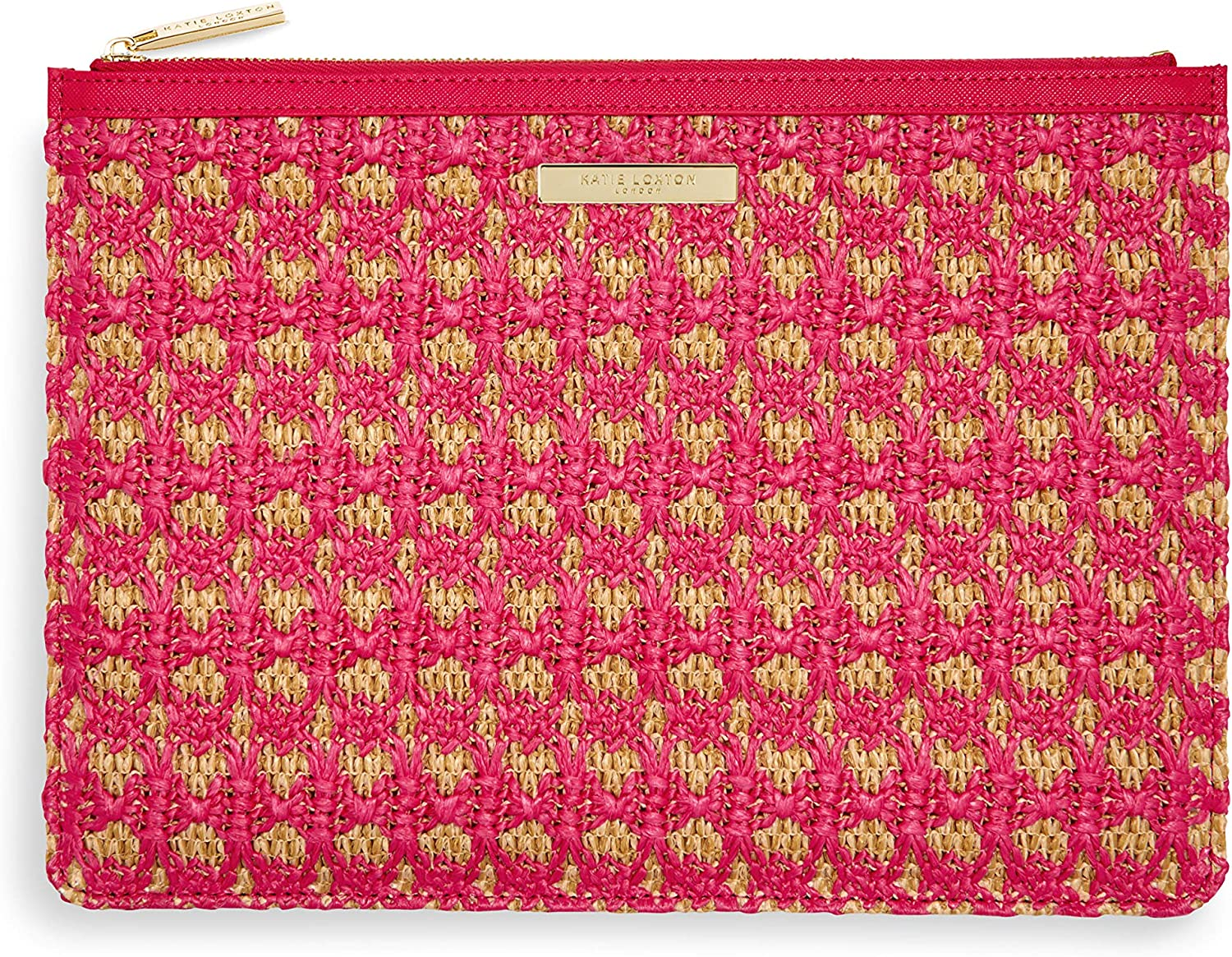 Katie Loxton Willow Woven Straw Womens Clutch Pouch in Natural and Hot Pink