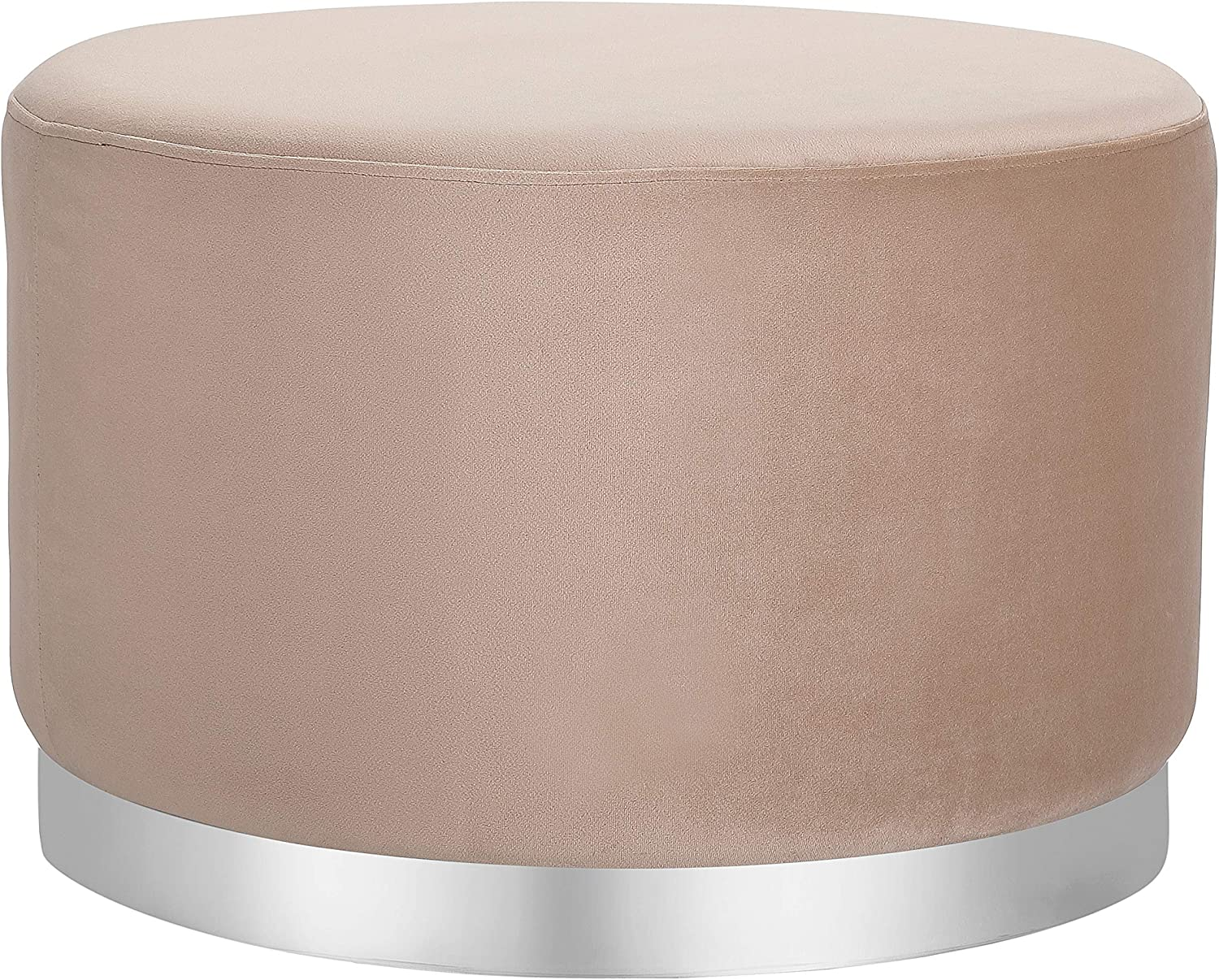BirdRock Home Round Taupe Velvet Ottoman Foot Stool - Soft Large Padded Stool – Silver Trim – Coffee Table - Great for The Living Room or Bedroom – Decorative Furniture – Foot Rest